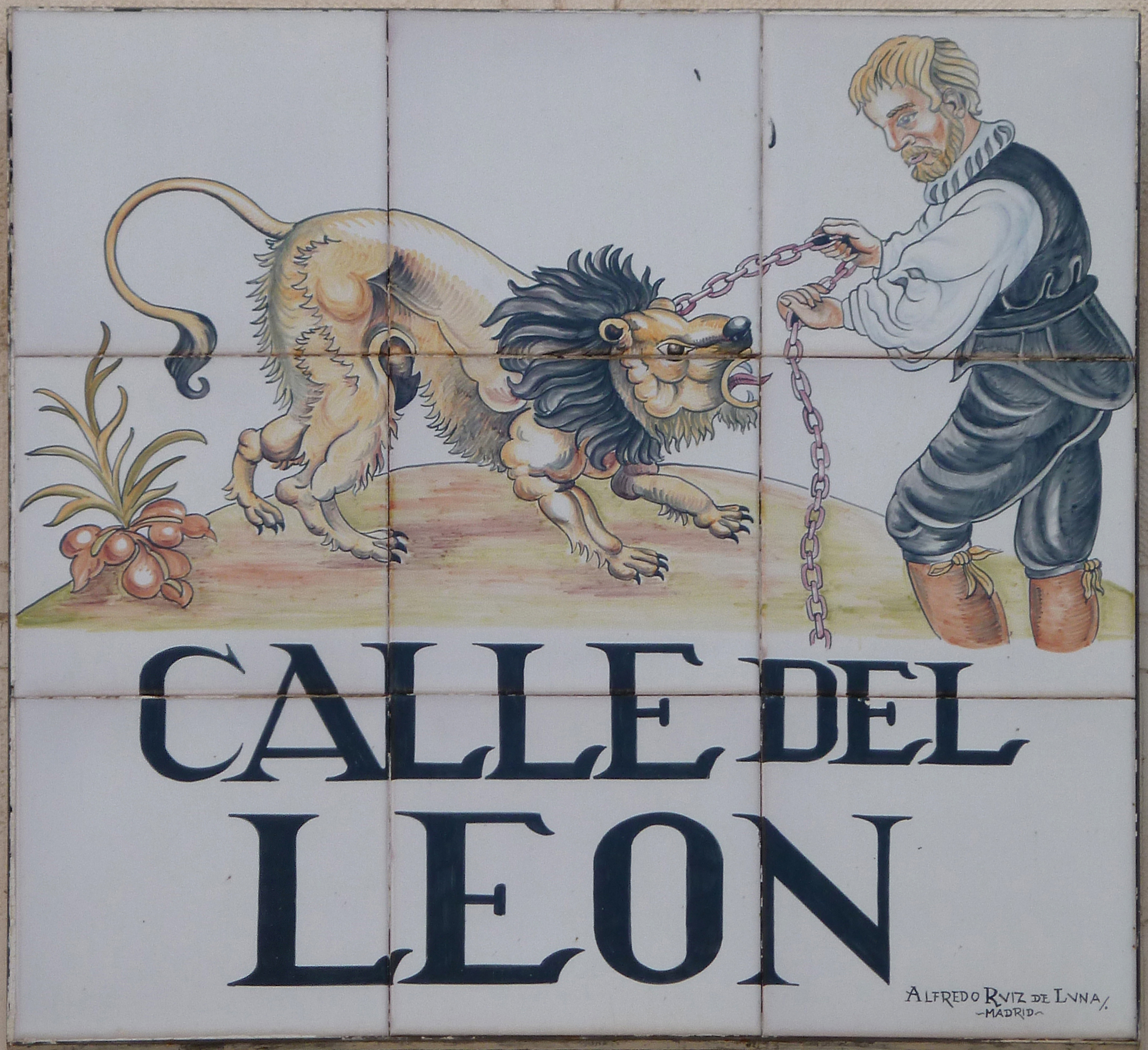 Sign of Calle del Leon (literally 'Lion Street') in Centro district in Madrid (Spain).