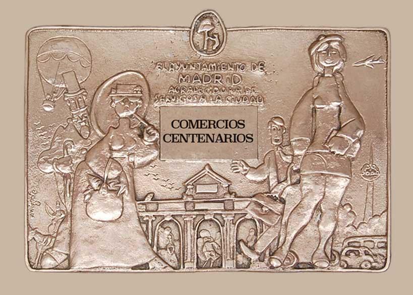 Placa de los comercios centenarios de Madrid.